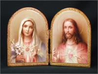 "Sacred Heart and Immaculate Heart Florentine Diptych, 9.5 x 6.5"". Made in Italy., # 7392"