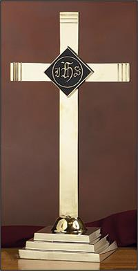 "Altar Cross with IHS Emblem, 24"" Brass, # 7581"