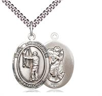 "Archery / St. Christopher Medal, Sterling Silver, 3/4"", Your Choice of Chain, # 7839"