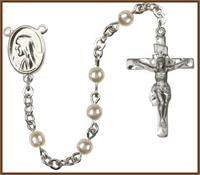 4mm Faux Pearl Bead Rosary, # 7937