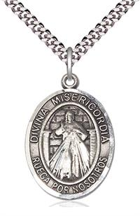 "Divina Misericordia Spanish Medal, Sterling Silver, 3/4"" Oval, Your Choice of Chain, # 8188"