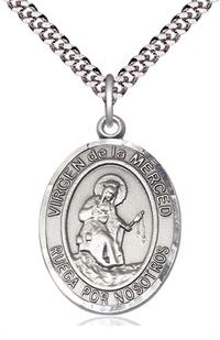 "Virgen de la Merced Spanish Medal, Sterling Silver, 1"" Oval, Your Choice of Chain, # 8240"