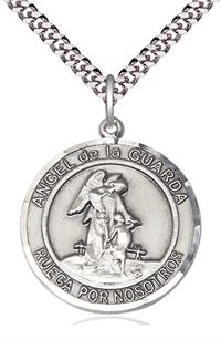 "Angel de la Guarda Spanish Medal, Sterling Silver, 1"" Round, Your Choice of Chain, # 8266"