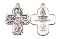 "5-way Spanish Medal, Sterling Silver, 1-1/4"", Your Choice of Chain, # 8275"