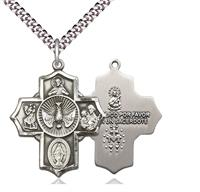 "5-way Spanish Medal, Sterling Silver, 1-1/8"", Your Choice of Chain, # 8298"