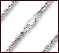 "16"" Heavy French Rope Chain, 3.85mm wide, Light Rhodium Plate, # 8528"
