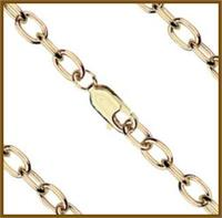 "27"" Open Cable Chain, 4mm wide, Light Gold Plated, # 8688"