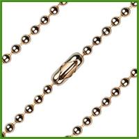 "18"" Heavy Bead Chain, 3.15mm wide, Light Gold Plated, # 8718"