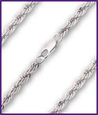 "30"" Heavy French Rope Chain, 4mm wide, Heavy Rhodium Plate, # 8780"