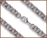 "24"" Double Cable Chain, 7.5mm wide, Heavy Rhodium Plate, # 8824"