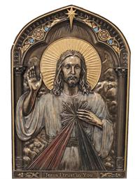 "9"" Tall Bronze Finish Divine Mercy Plaque, Stands or Hangs, # 88815"