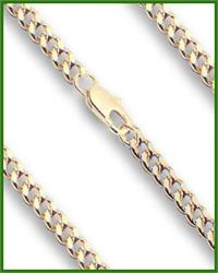 "30"" Heavy Hamilton Gold Plated Curb Chain, 3.65mm wide, # 8934"