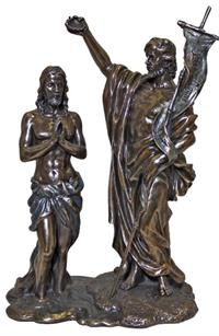 "10.5"" tall Baptism of Christ Statue, Cold Cast Bronze, # 90352"