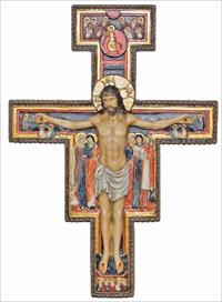 "10"" San Damiano Crucifix, Hand Painted Resin, # 90359"