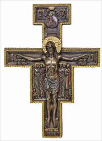 "10"" San Damiano Crucifix, Cold Cast Bronze, # 90360"