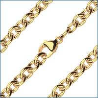 "27"" Heavy Open Cable Chain, 5.45mm wide, Heavy Hamilton Gold Plate, # 9182"