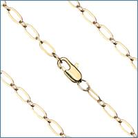 "16"" Light Oval Cable Chain, 3.1mm wide, Heavy Hamilton Gold Plate, # 9190"