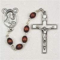 4x6mm Brown Wood Rosary, Pewter Crucifix & Center, # 92177