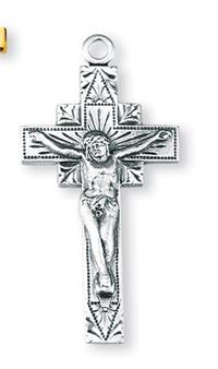 "Crucifix, 1 1/8"" Sterling Silver with 24"" Chain # 92505."