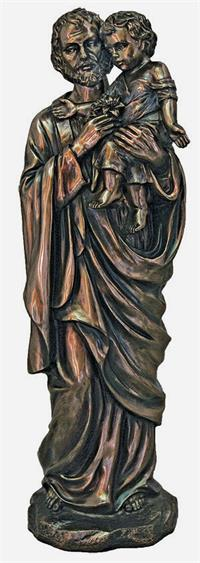 "11"" St. Joseph & Child Statue, Cold Cast Bronze, Lightly Hand Painted, # 92739"