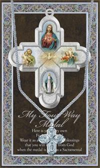 "15/16"" Pewter Medal with Folding Prayer Card, 4-Way Medal, # 93111"