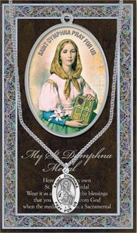 "15/16"" Pewter Medal with Folding Prayer Card, St. Dymphna, # 93124"
