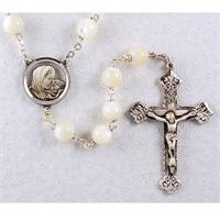 Rosary, 8mm Mother of Pearl, Sterling Crucifix and Center, # 94836
