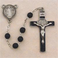 St. Benedict Rosary, 7mm Black Glass, Pewter Crucifix & Enameled Center, # 94866