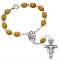 Auto Rosary, Silver Oxide Crucifix and Center, Franciscan Olive Wood, # 94883