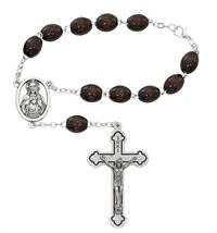 Auto Rosary, Silver Oxide Crucifix and Center, Brown Wood, # 94884