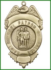 "Keychain, Bronze Oxide Finish, St. Michael / Police, 2-3/4"" tall, # 95064"