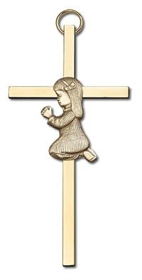 "4"" Praying Girl Cross, Gold Figure on Polished Brass Cross, # 95182"