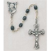 5mm Imitation Hematite Children's Rosary, Sterling Silver Crucifix and Center, # 95653
