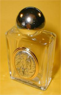 "1-3/4"" x 3-1/4"" Glass 1.5 oz. Holy Water Bottle O.L. Lourdes  Made in Italy., 96188"