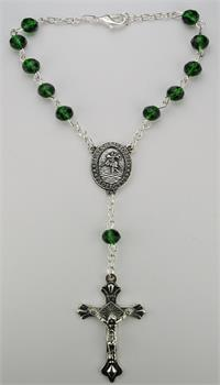 Auto Rosary, Silver Oxide Crucifix and Center, May / Emerald, # 96231