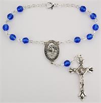 Auto Rosary, Silver Oxide Crucifix and Center, September / Sapphire, # 96234