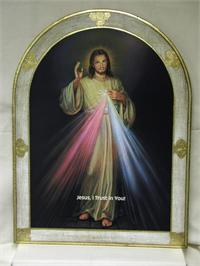 "Divine Mercy Florentine Plaque, Bell Shaped, white and gold border, ""Jesus, I Trust in You!"", 23"" x 31"". Made in Italy., 96267"
