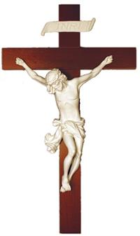 "14"" Baroque Style Crucifix, White Alabaster on Wood, # 96298"