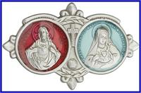 "Visor Clip, Silver Oxide Finish, Red / White Enamel, Jesus / Mary, 3-1/8"" wide, # 96636"