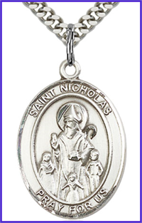 "3/4""x9/16"" Sterling Silver St. Nicholas Medal, Your Choice of Chain, # 65920"