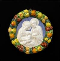 "Della Robbia wall plaque in hand-crafted and hand-painted ceramic wall plaque, 6"" diameter, Holy Family, 97373"
