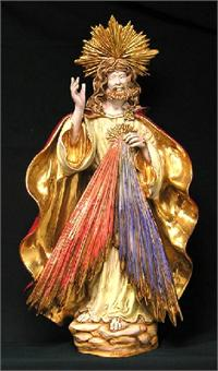 "Divine Mercy by Carmine Apolito in hand-painted and hand-crafted ceramic, 14"" x 26"". Made in Italy., 97445"