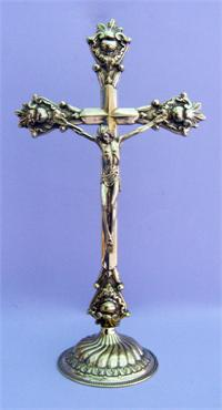 "A beautiful Shiny Brass Standing Crucifix, Round Base, 14-1/2"" tall, Made in Italy., 97498"