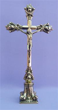 "A beautiful Shiny Brass Standing Crucifix, Pillar Base, 14-1/2"" tall, Made in Italy., 97499"
