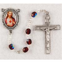 Sacred Heart of Jesus Rosary, Ruby Crystal Beads, Pewter Crucifix and Center, # 97737