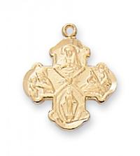 "1/2"" tall 4-Way Medal, Gold on Sterling, 13"" Gold Plated Chain, # 98366"