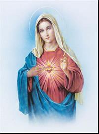 "19"" x 27"" Poster of the Immaculate Heart of Mary, Italian gold embossed, #, 98456"