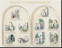 "19"" x 27"" Poster of the Ten Commandments, Italian gold embossed, #, 98458"