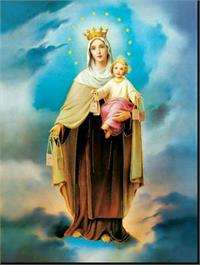 "19"" x 27"" Poster of Our Lady of Mount Carmel, Italian gold embossed, #, 98462"