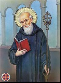 "19"" x 27"" Poster of St. Benedict, Italian gold embossed, #, 98463"